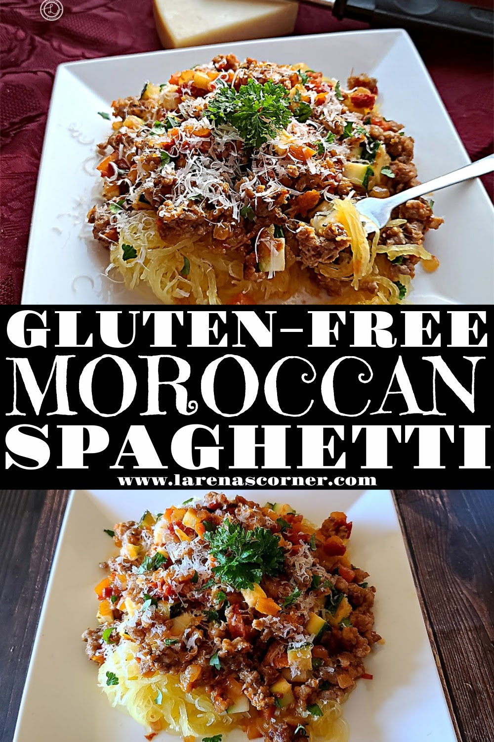 Two pictures of Gluten-Free Moroccan Spaghetti. One of a plate of it. One picture of some on a fork.