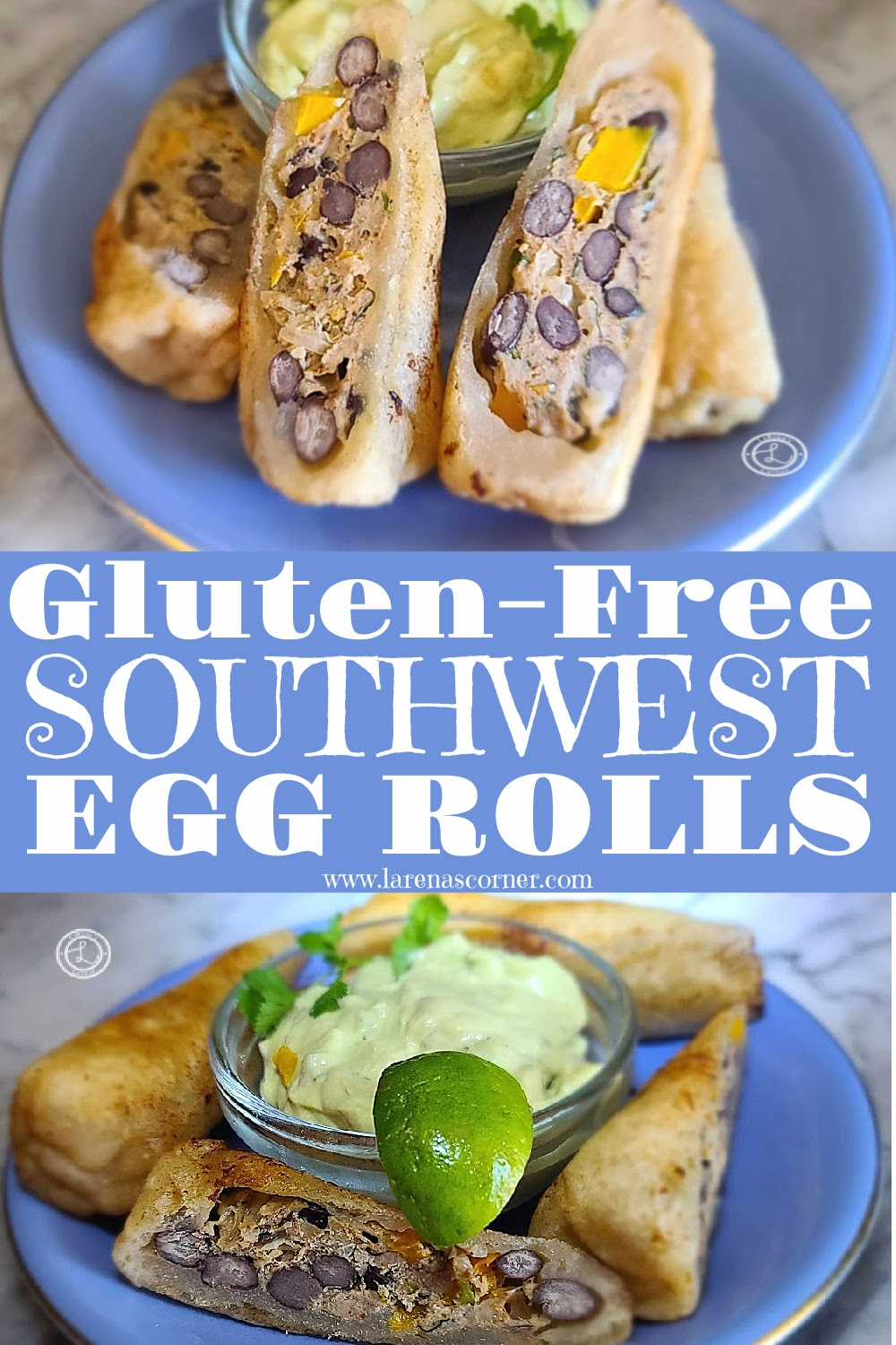 2 pictures of egg rolls on a plate.